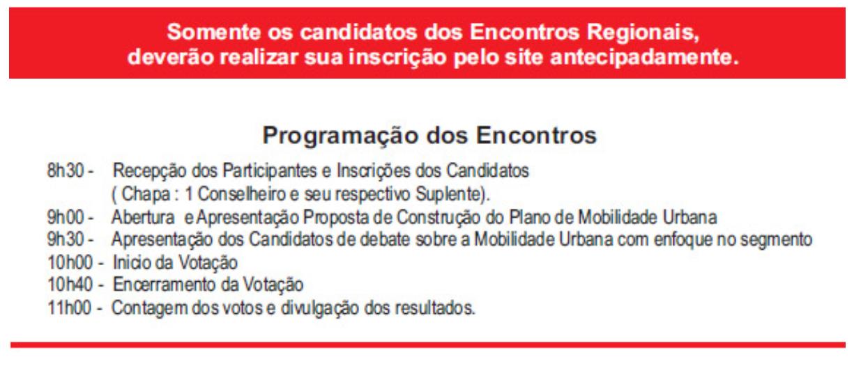 Programação dos Encontros para Eleições do CMTT